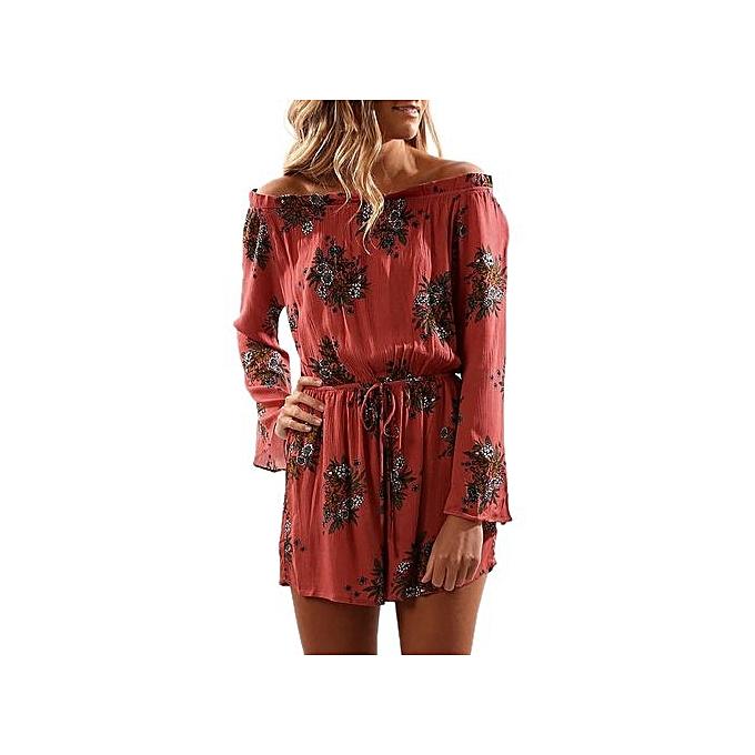Eissely femmes Print Off Shoulder Long Sleeve Jumpsuit Playsuit-rouge à prix pas cher
