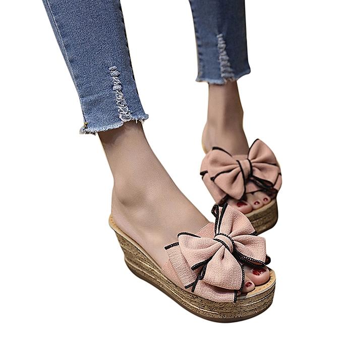Fashion Xiuxingzi femmes Fashion Solid Couleur Bow Wedges Slipper Sandals Kitten Heels chaussures rose à prix pas cher