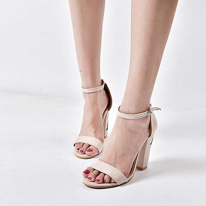 Generic Generic femmes Suede Rose Embroidery With Crude High-heeled chaussures Sandals A1 à prix pas cher
