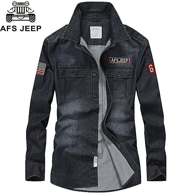 GENERAL Hommes& 039;s mode Décontracté manche longue Cotton respirant Denim Military Shirts à prix pas cher