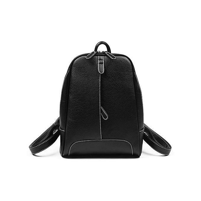Generic Female Bag Korean Style Casual College Wind PU Leather Backpack noir à prix pas cher