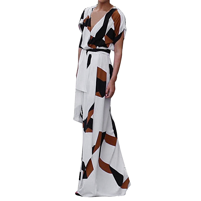 mode femmes& 039;s été V-neck Floral manche courte Long Maxi Robe Party plage SunRobe à prix pas cher