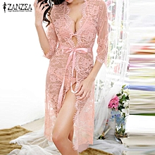 Lace Maternity Dress Nightgowns Pregnant Women Tr ansparnet Hollow Out  Vestidos Casual Loose Sleepwear 62f83814fca