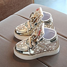 324a68e71b5 Toddler Bébé Fashion Sneakers Star Luminous Child Casual Colorful Light  Chaussures - Gold