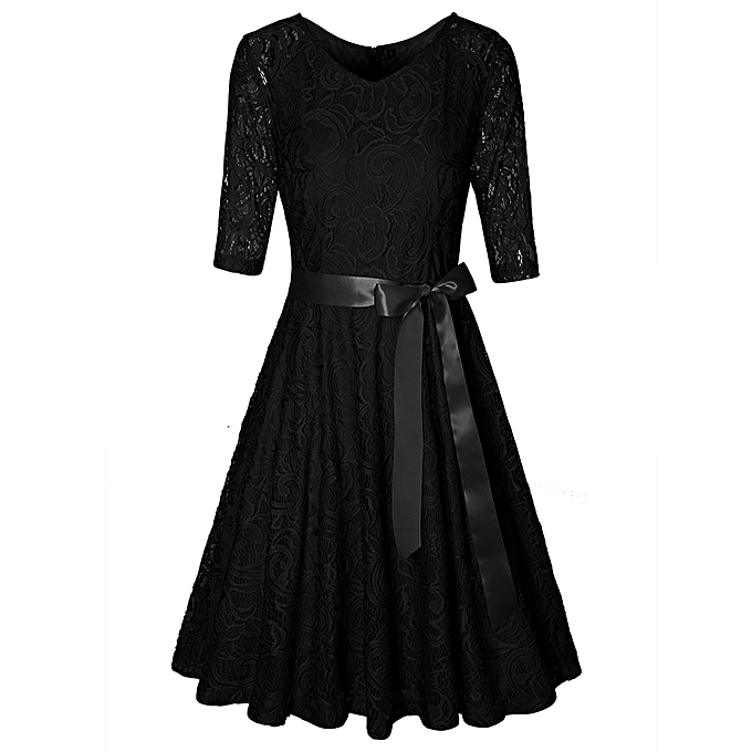 Kenancy Robe En Dentelle De Ceinture De Satin Vintage - noir à prix pas cher