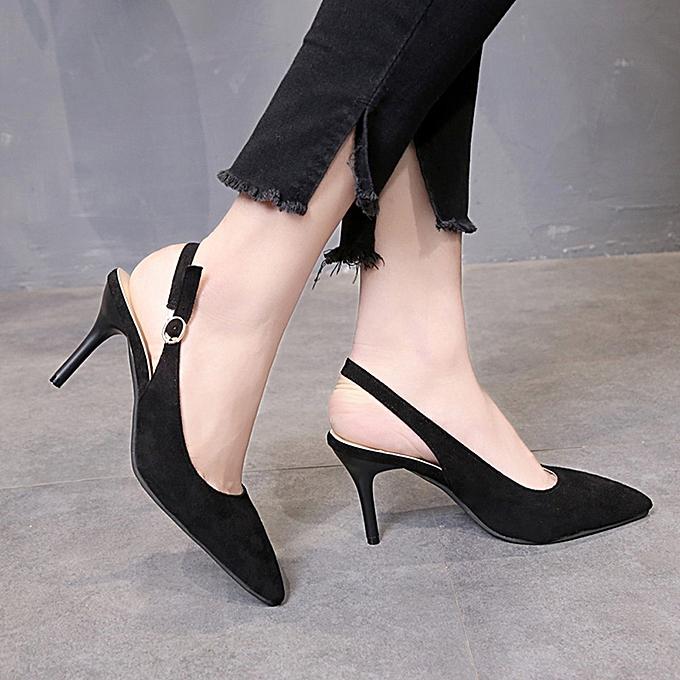 Générique Sedectres Fashion WoHommes  Pionted Toe Buckle Casual Comfortable Work Work Comfortable High Heel Party Shoes-Black à prix pas cher    Jumia Maroc 1b605b
