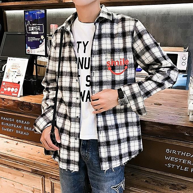 mode Autumn nouveau Hommes& 039;s manche longue Shirt Plaid Letter Print Loose Décontracté Hommes Shirt à prix pas cher
