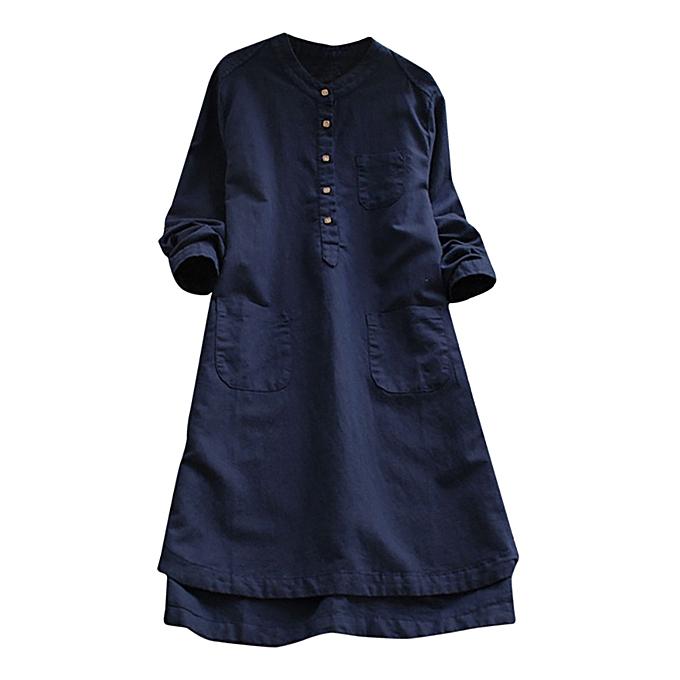 Generic Xiuxingzi  femmes Retro manche longue Décontracté Loose Button hauts chemisier Mini Shirt Robe à prix pas cher