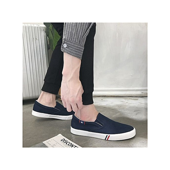 OEM New hommes canvas chaussures hommes chaussures Korean version of the set of feet chaussures casual student chaussures tide-bleu à prix pas cher    Jumia Maroc
