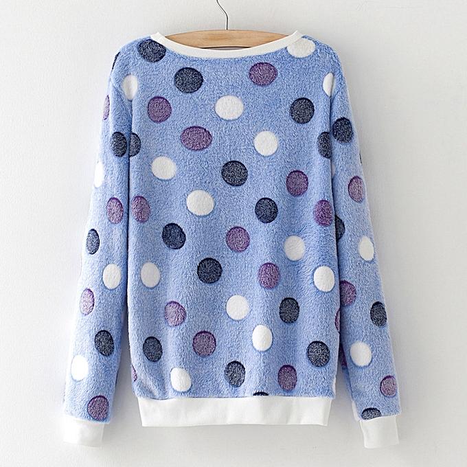 Fashion New femmes Long Sleeve Sweater Print Coral Fleece Sweatshirt Tops BU M à prix pas cher