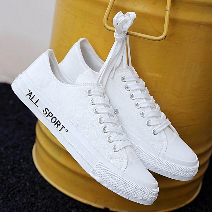 Autre College Style Hommes toile chaussures blanc chaussures à prix pas cher