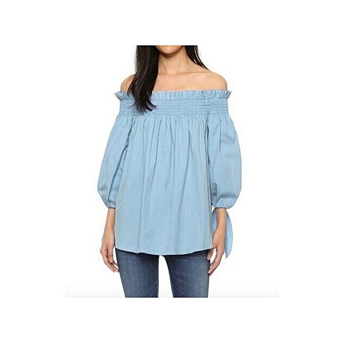 Fashion Zanzea New Arrival 2017 Summer Sexy femmes Slash Neck Off Shoulder Blouse Shirts Casual 3 4 Sleeve Loose Tops Party bleusas Plus Taille Azure à prix pas cher