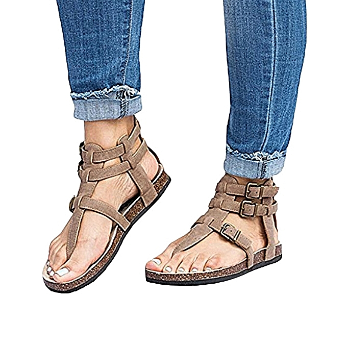 OEM Ladies Sandals Fashion Buckles Flat Ankle Beach chaussures Roman Slippers-Beige à prix pas cher    Jumia Maroc