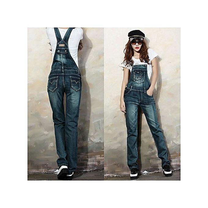 Fashion Xiuxingzi_Fashion Street Denim Bib femmes Lady Jeans Spaghetti Strap Slim Pants L à prix pas cher