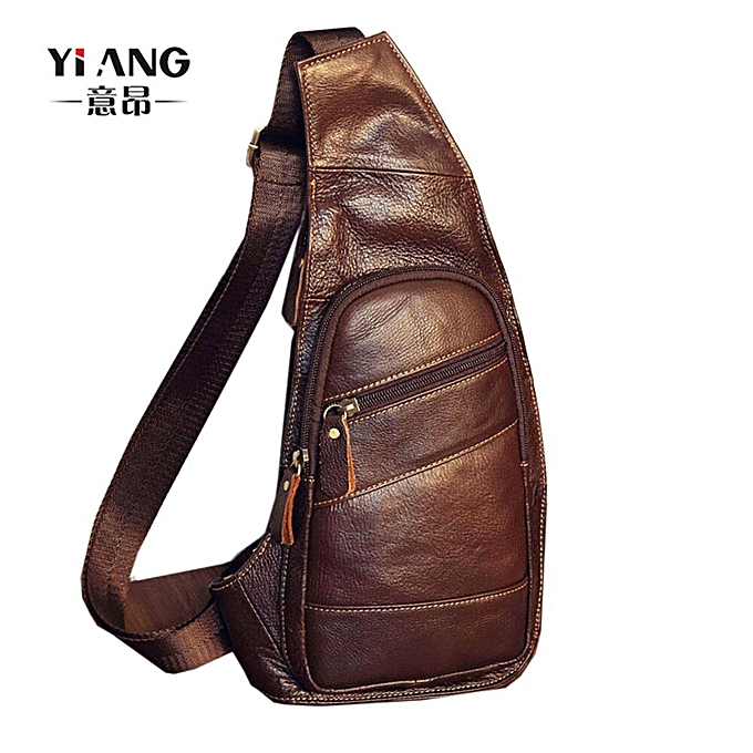 Fashion Men's Vintage  Leather Sling Chest Bag Cross Body Messenger Shoulder Packet Motorcycle for Travel Riding Hiking Pouch à prix pas cher