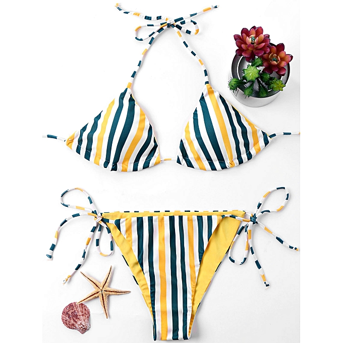 Generic HL Tie Side Striped Bikini Set (Couleurmix) (XL, M, L, 2XL) à prix pas cher