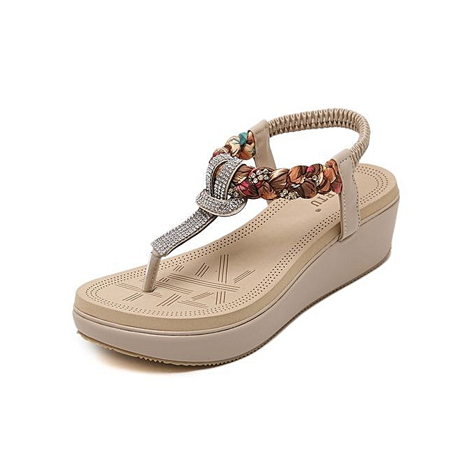 OEM Large Taille femmes chaussures Beach Sandals chaussures 5cm Heels Rhinestone With Leisure-apricot à prix pas cher