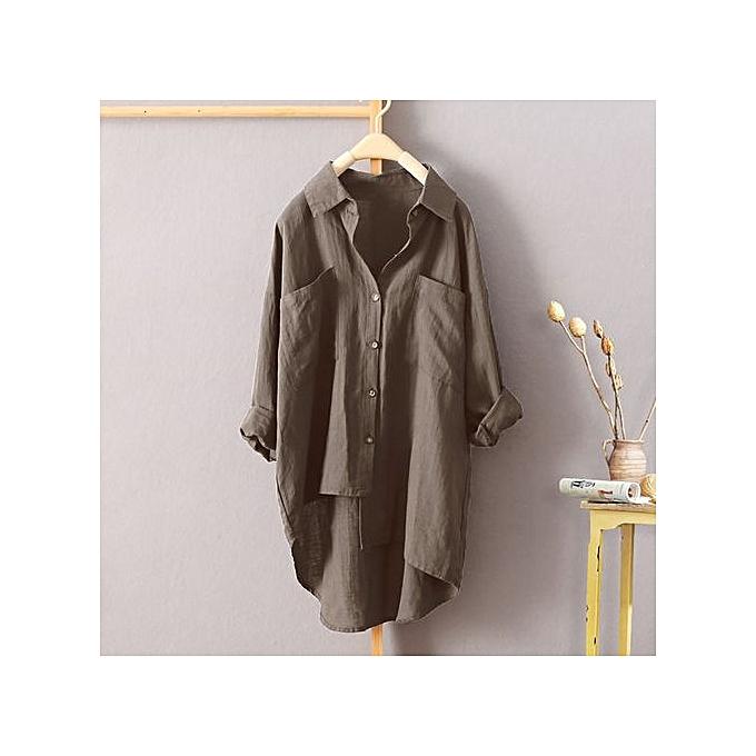 Fashion Tectores femmes Buttons Down Asymmetrical High Low Casual Shirt Tops Blouse Plus à prix pas cher