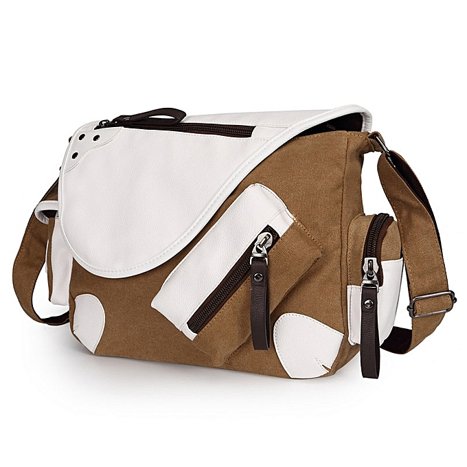 Other Men Brief Brand Canvas Multi-Pocket Crossbody Bags Casual Messenger Bag Large Capacity Travel Package With Shoulder Strap(Coffee) à prix pas cher