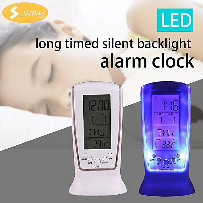Other Sway Calendar Alarm Clock Display date time temperature mini Desk LED Thermometer (blanc) LJMALL à prix pas cher