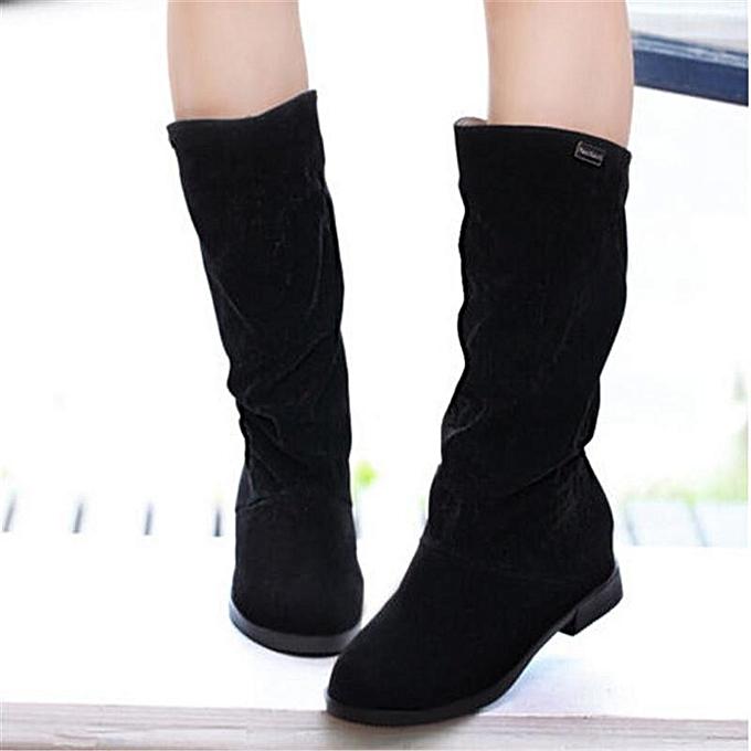 Fashion femmes Winter Warm Snow bottes Suede Mid-calf bottes Platform Fashion Flat chaussures noir à prix pas cher    Jumia Maroc