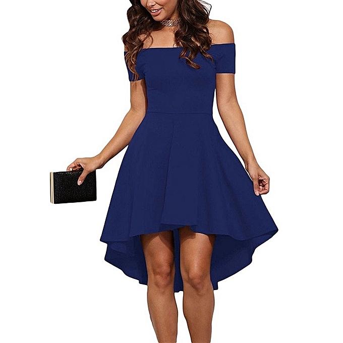 Fashion Off Shoulder Strapless Princess Dovetail Tube Dress  Elegant Slim Party High Low violet Dress Summer femmes midi dress-bleu à prix pas cher