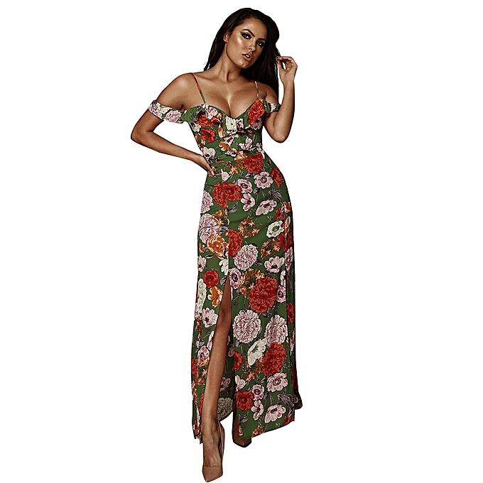 mode Tcetoctre Shop femmes été Décontracté Print Cold shoulder Lady Sling plage Long Maxi Robe à prix pas cher