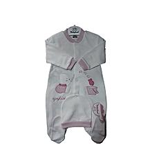 Rabbit Grenouillère- Pyjama + Bonnet - Made of TURKEY - Rose 3a0e0aff13c