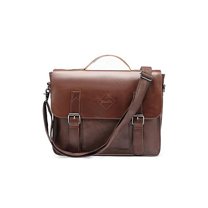Other Zebella Quality noir Vintage PU Leather Briefcase Men Messenger Bags Male Business Office Bag Lawyer Office Laptop Handbag(marron Briefcase) à prix pas cher