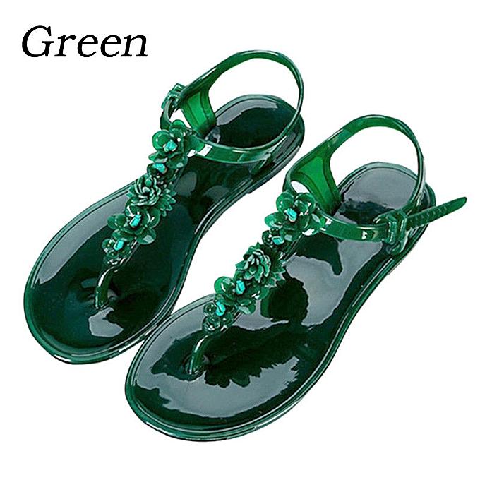 Fashion Wohommes Summer Jelly Flowers Thong Sandals Beach Toe Flip Flops Flats chaussures à prix pas cher