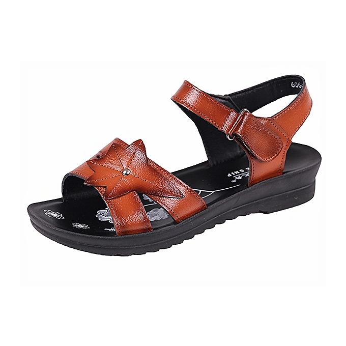Fashion femmes Leather Casual chaussures Soft Sole Flat Sandals à prix pas cher