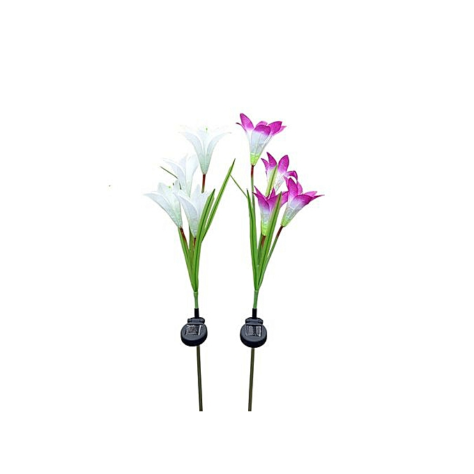 Generic Hiamok-2 Pcs Lily Flower Solar Powerouge Garden Stake Lights Artificial Flowers LED Light à prix pas cher
