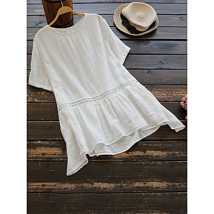 mode Plus Taille femmes manche courtes Patchwork Cotton chemisier à prix pas cher