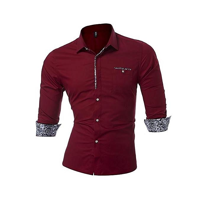 Fashion Podom Men Slim Fit Plus Taille S-5XL Long Sleeve Lapel Pure Couleur Casual Shirts Wine rouge à prix pas cher