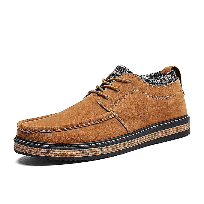 Fashion Men Brogue Style Knitted Suede Soft Sole Warm Oxfords chaussures à prix pas cher