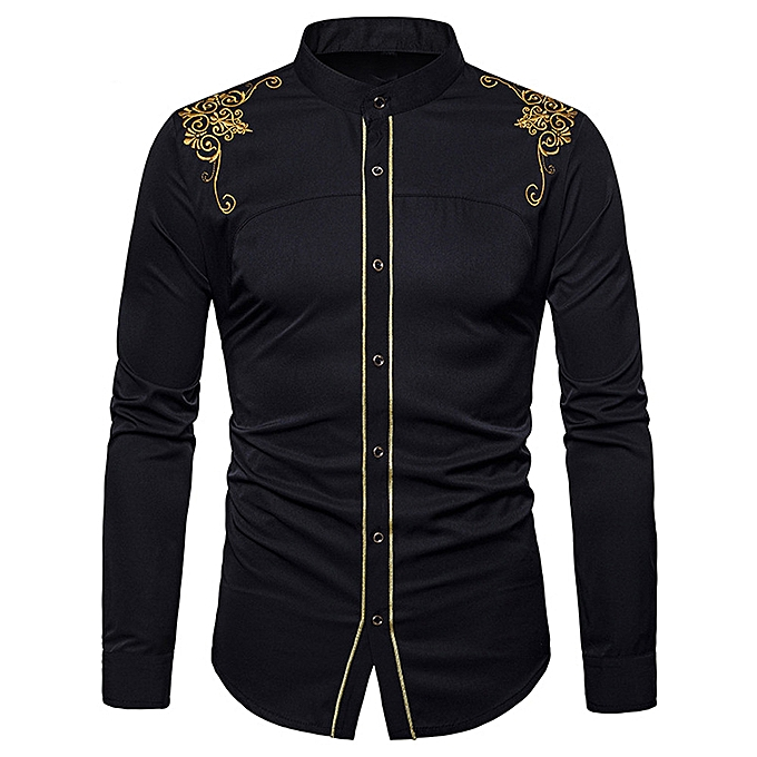 Fashion jiahsyc store  Mens Hipster Fit Long Sleeve Button Embroidery Down Dress Shirts Tops BK L à prix pas cher