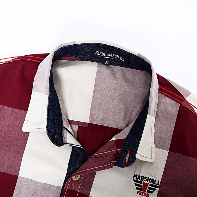 Fashion Men's Checked Shirt Long Sleeve Non-Iron Casual Blouse Cotton Slim Fit Plaid Top- rouge à prix pas cher
