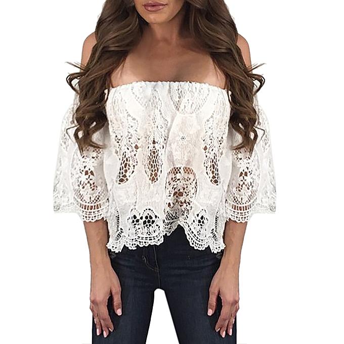 Generic Generic femmes Sexy Off Shoulder Lace HolFaible Out Loose chemisier manche courte hauts Shirt A1 à prix pas cher
