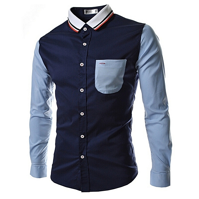 Other Casual Contrast Couleur Men's Long Sleeves Shirt à prix pas cher