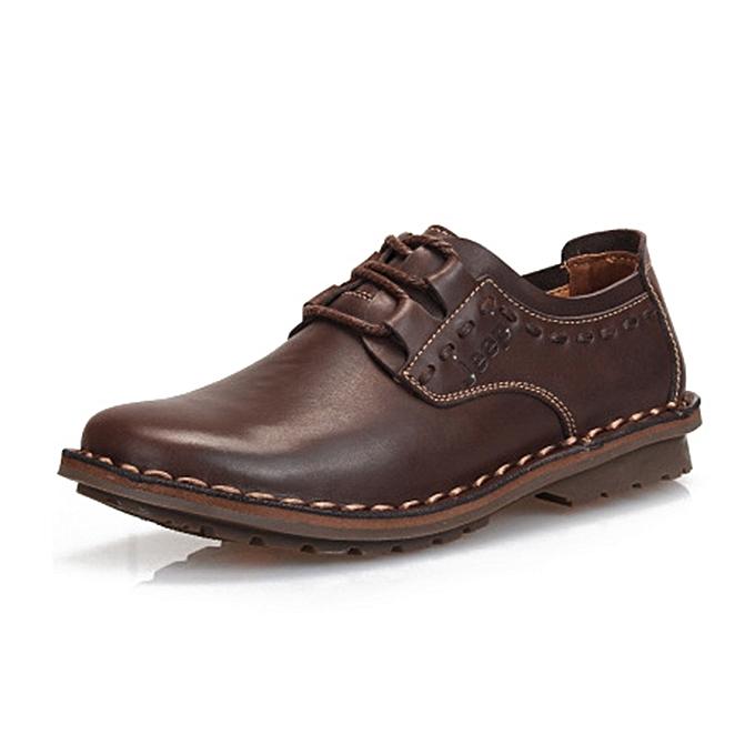 Fashion Men Comfy Casual Business Cow Leather Lace Up Oxfords à prix pas cher