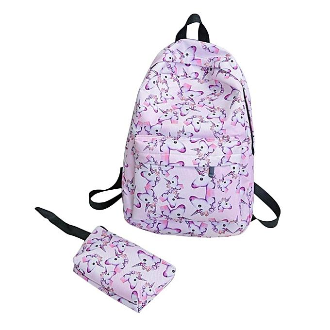 Generic 2Pcs set 3D Printing femmes Backpack Fashion Canvas Bag Schoolbag Travel à prix pas cher