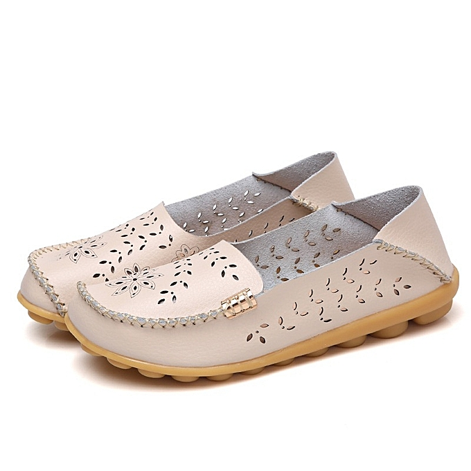 Other Stylish Spring and Summer  Leather Bean chaussures Hollow Flat Sole Single chaussures-Beige à prix pas cher    Jumia Maroc