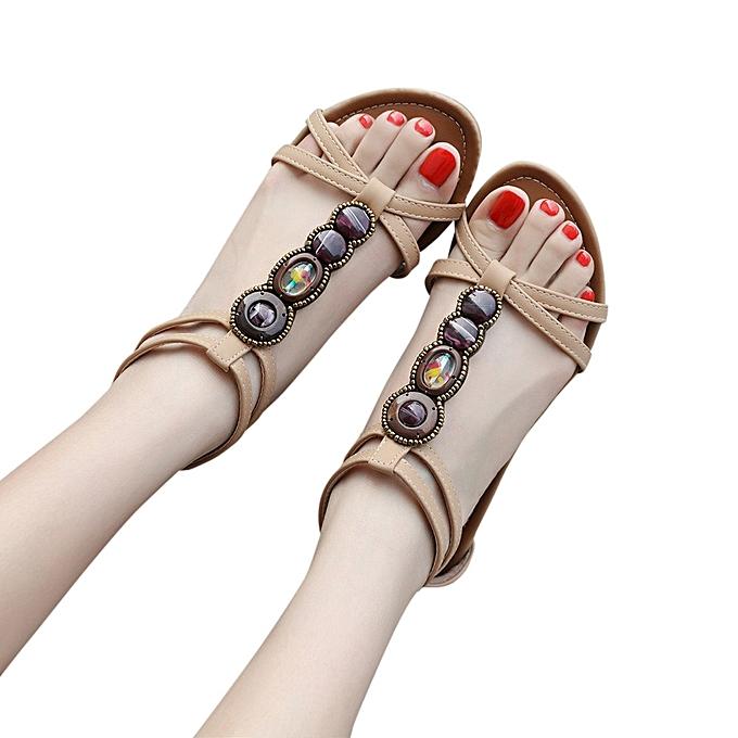 Fashion Jummoon Shop Bohemian femmes Gemstone Slippers Summer Beach Sandals à prix pas cher