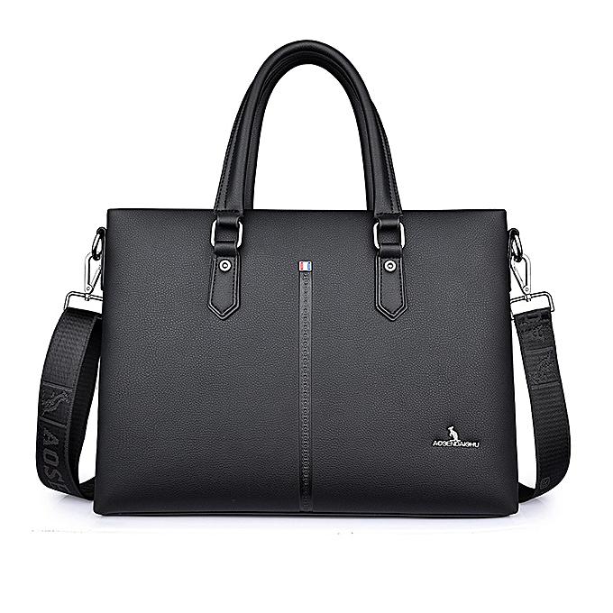 Other Brand  Leather Business Briefcase Laptop Handbag Men Shoulder Messenger Bag Briefcase High Capacity Crossbody Travel Bags(noir) à prix pas cher