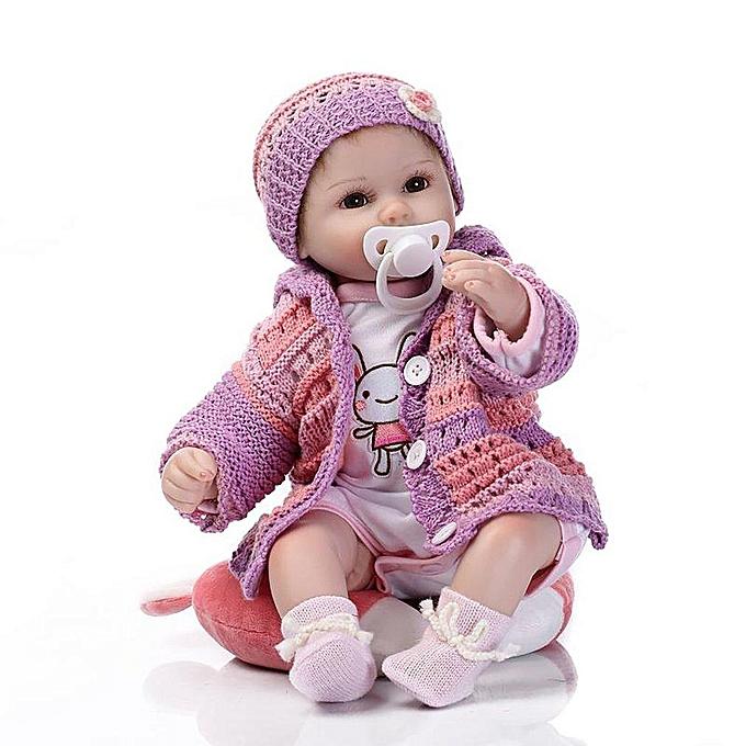 Autre Le bébé de poupée rebondi de silicone d'US joue des accessoires de luxe pull violet poupée princesse à prix pas cher