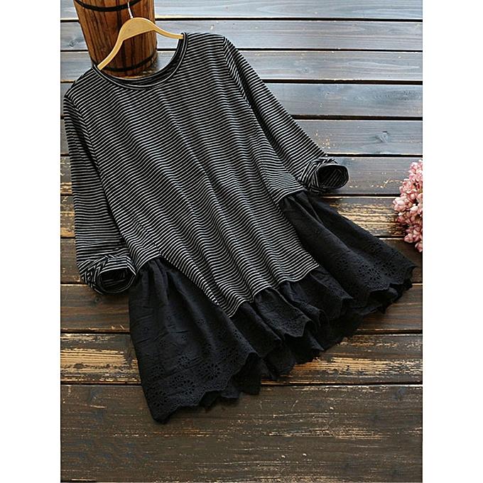 mode Vintage femmes Stripe Patchwork Embroidery Hem manche longue chemisier à prix pas cher