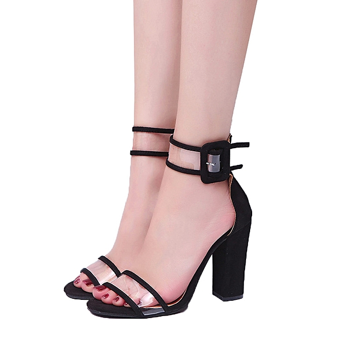 Fashion Wo Wo Fashion    Block High Heel Sandals Ankle  Platforms Shoes Buckle High Heels -Black à prix pas cher  | Jumia Maroc beee6e