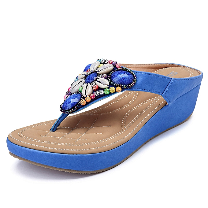 Fashion femmes Summer Beach Rhinestones Bohemian Casual Sandals à prix pas cher