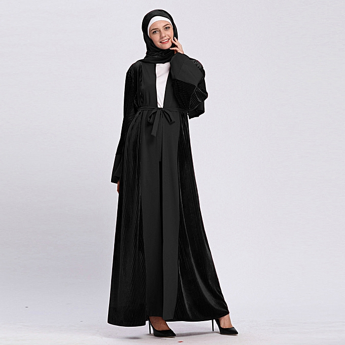 Fashion meibaol store femmes Velvet Open Abaya Muslim Ladies Long Sleeve Print Long Maxi Dress Kaftan à prix pas cher