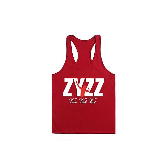 Other Hommes& 039;s été Sportswear BodybRuilding Fitness Cotton Printed I-shaped ZYZZ Vest-rouge&blanc à prix pas cher